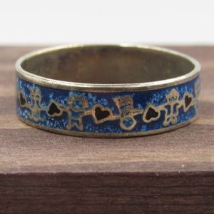 Size 7.5 Sterling Hearts Turquoise Chip Band Ring